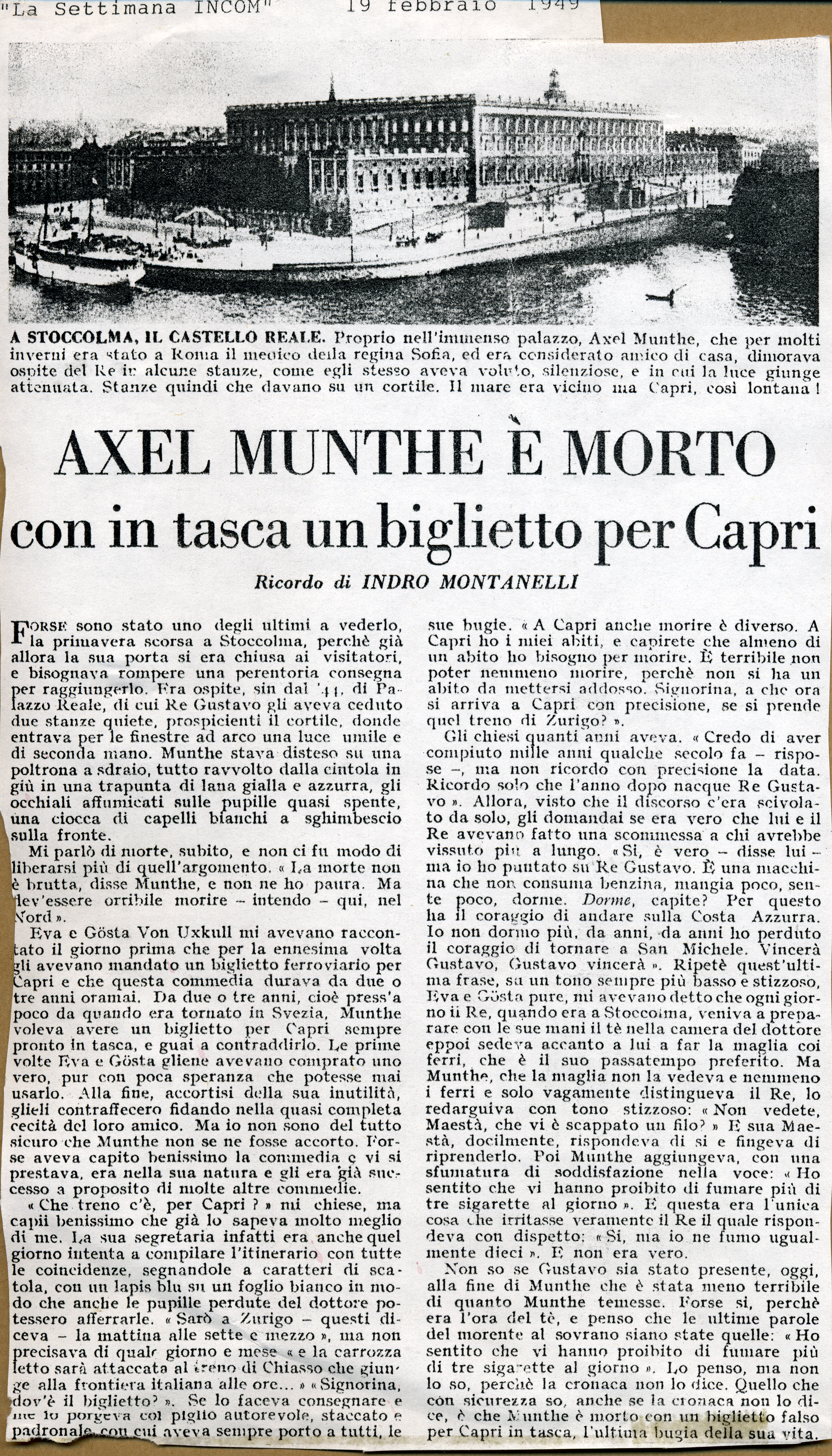 The article announcing Munthe's death by the famous Italian journalist Indro Montanelli